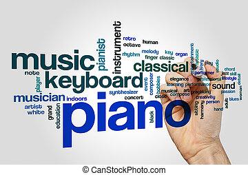 zongora, szó, felhő, fogalom