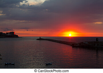zonguldak, 上に, 日没, 港