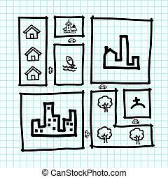 zoning, πόλη , τραβώ , .illustration, χάρτηs , χέρι