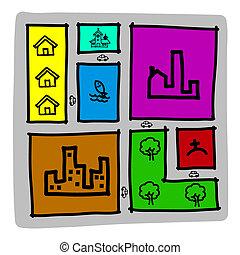 zoning, város, rajzol, .illustration, térkép, kéz