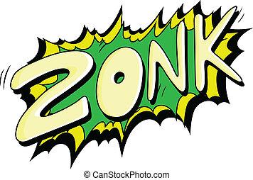 zonk, -, comique, vecteur, expression