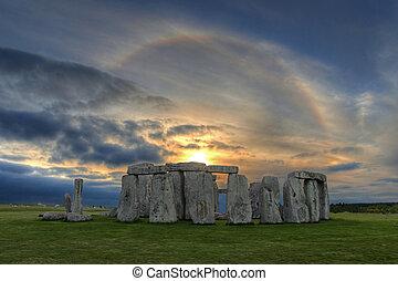 zonne, op, ondergaande zon , stonehenge, halo
