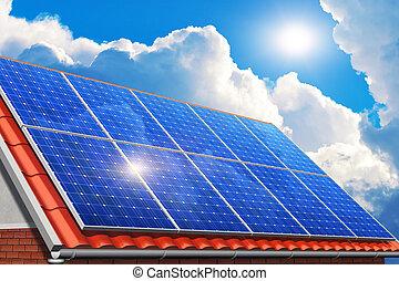zonne, panelen, op, woning, dak