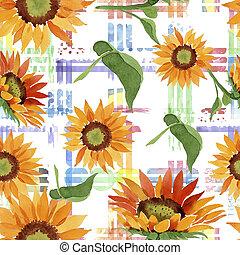 zonnebloem, flower., pattern., seamless, watercolor, oranje achtergrond, floral, flora
