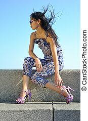 zonnebrillen, aziatische vrouw
