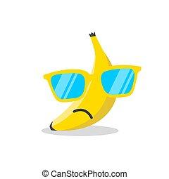 zonnebrillen, illustratie, banaan, vector, gezicht, spotprent