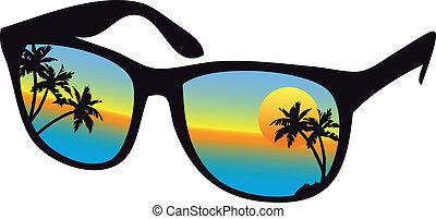 zonnebrillen, met, zee, ondergaande zon