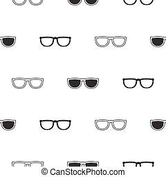 zonnebrillen, model, seamless, black , retro, white.