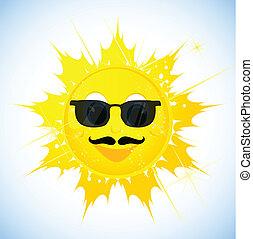 zonnebrillen, spotprent, zon