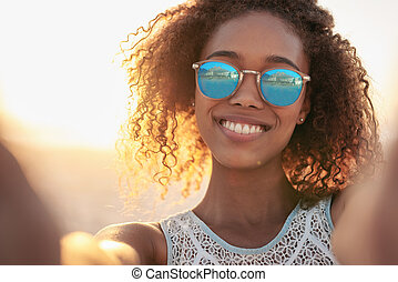 zonnebrillen, stijl, strand, compleet, haar