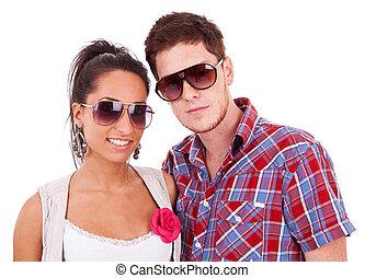 zonnebrillen, vervelend, paar, jonge