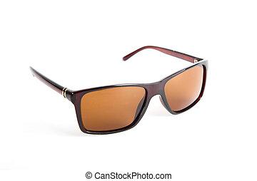 zonnebrillen, vrijstaand, op, de, witte