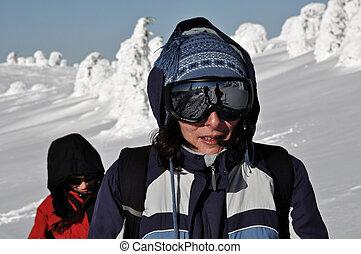 zonnebrillen, vrouwlijk, skier