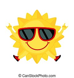 zonnebrillen, witte , vrijstaand, stijl, achtergrond., pictogram, gekke , plat, zon