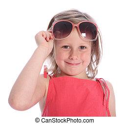 zonnebrillen, zes, jaar, plezier, oud, meisje, hebben