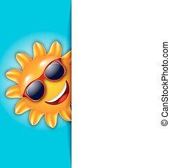 zonnebrillen, zon, karakter, schoonmaken, spotprent, kaart