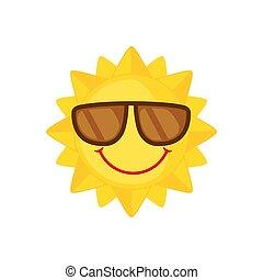 zonnebrillen, zon, witte , pictogram, plat, stijl, achtergrond., gekke , vrijstaand