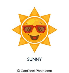 zonnebrillen, zon, zonnig, weer, pictogram, koel