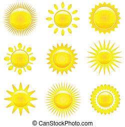 zonnen, set, het glanzen