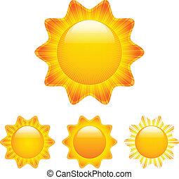 zonnen, set, stralen, het glanzen