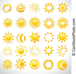 zonnen, vector, set