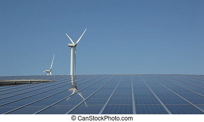 zonnepaneel, reeks, en, windenergie