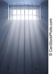 zonneschijn, cel, venster, door, gevangenis, koude
