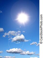 zonneschijn, in, blauwe hemel