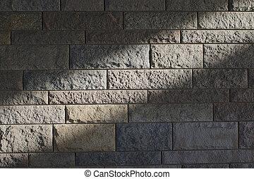zonnestraal, op, een, steenmuur