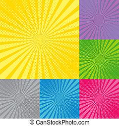 zonnestraal, retro, achtergrond, radiaal