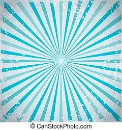 zonnestraal, retro, stralen, achtergrond, in, blue., vector, illustratie