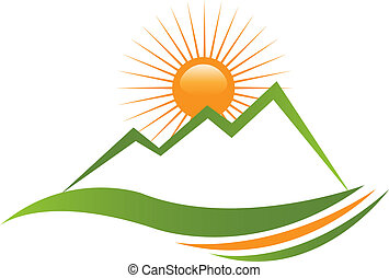 zonnig, berg, logo