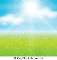 zonnig, lente, achtergrond