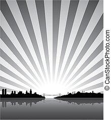 zonnig, silhouette, istanboel