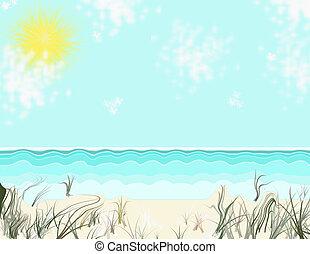 zonnig, strand