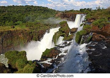 zonnig, vroeg, iguassu, watervallen, groot, earth., dag, morning.