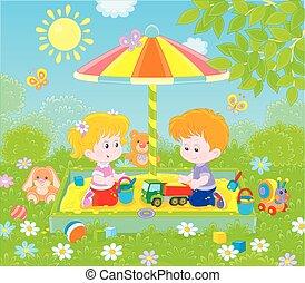 zonnige dag, kinderen, sandbox, kleine, spelend