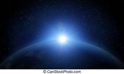 zonopkomst, op, aarde