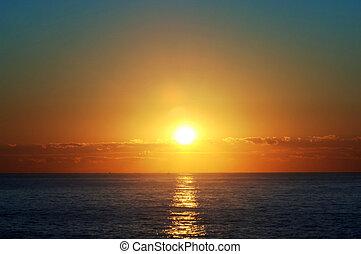 zonopkomst, op, de atlantische oceaan