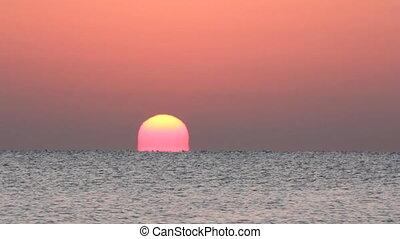 zonopkomst, op, zee, -, timelapse