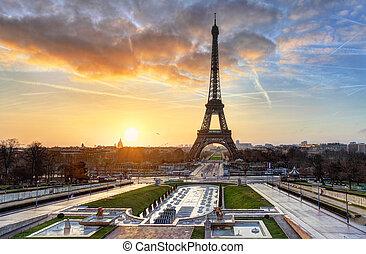 zonopkomst, parijs, toren, eiffel
