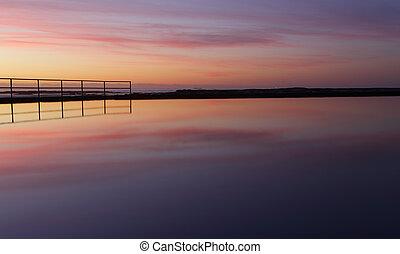 zonopkomst, weerspiegelingen, zijn, vredig, meditaties, om...