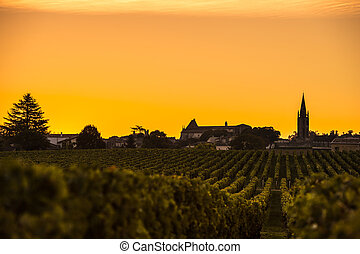 zonopkomst, wijngaard, heilige, emilion, bordeaux wijn