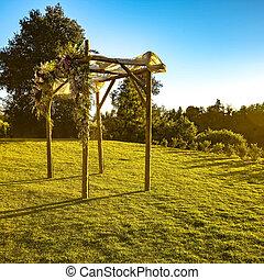 zonovergoten, chuppah, op, een, traditioneel huwelijk, ondergaande zon