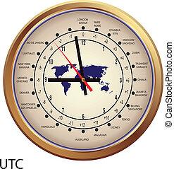 zonplanerar, klocka, guld, tid