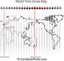 zonplanerar, värld, tid, karta