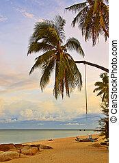 zonsondergang strand, relaxen
