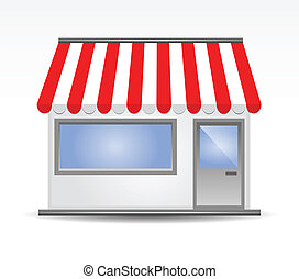 zonwering, storefront, rood