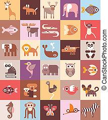 zoo, živočichy, vektor, ilustrace