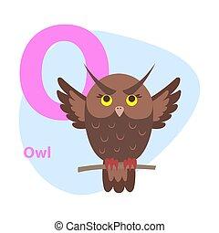 Zoo ABC Letter with Cute Owl Cartoon Vector